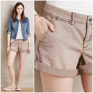 """Anthropologie """"Chino"""" Relaxed Fit Khaki Shorts"""